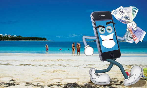 A cartoon smartphone with a fistful of cash on a beach